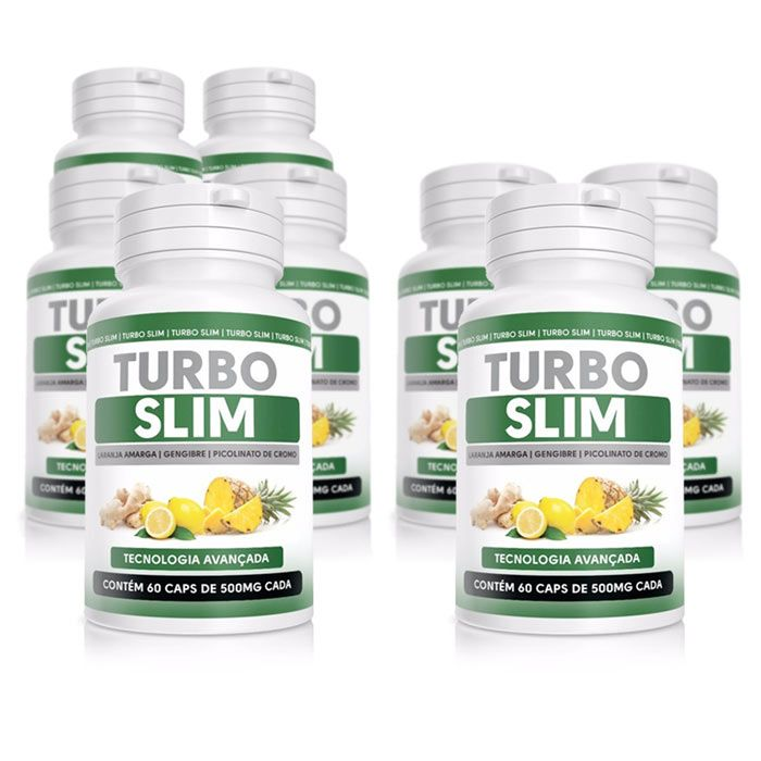 Turbo Slim Original - 60 Cápsulas 500mg - Compre 5 Potes Leve 8  - Composto Natural