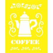 STENCIL PARA SOBREPOSIÇÃO - AMARELINHO COFFEE- PROJETEC DESIG 25X20 CM