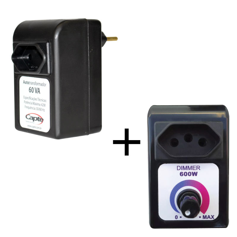 Dimmer controlador de velocidade capte + Autotransformador 60VA bivolt manual 110V/220V Capte