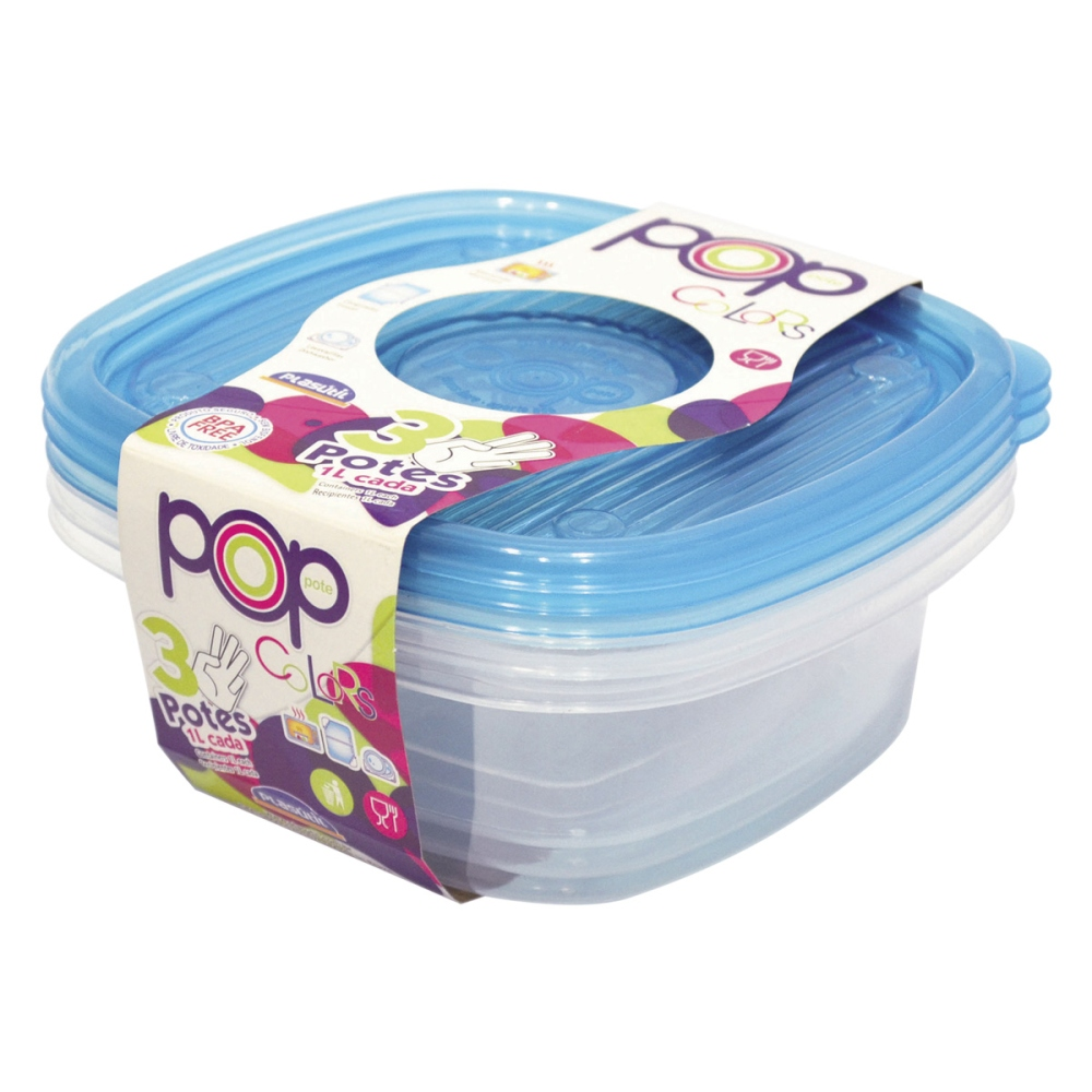 Pote Quadrado Para Alimentos POP - 3 uni. tipo tapuere tupperware