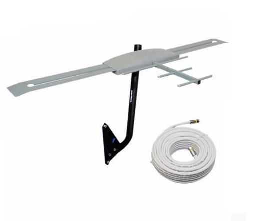 Antena Digital Externa K7 Amplificada Mastro Articulável 50 cm Cabo Coaxial 12mts