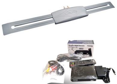 Antena Digital Externa Capte Prata e Conversor Digital DTV VT7500