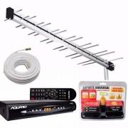 Kit Antena Digital C/ Conversor Dtv8000, Suporte E Cabo 20m