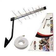 Kit Antena Digital para TV Log 16 com Mastro 50 cm e Cabo coaxial Capte 10 metros