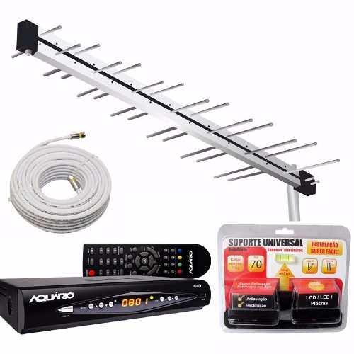 Kit Antena Digital C/ Conversor Dtv8000, Suporte E Cabo 20m Capte