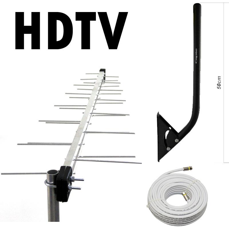 Antena Digital Externa Log 28 e Cabo 20m E Mastro Articulável Capte