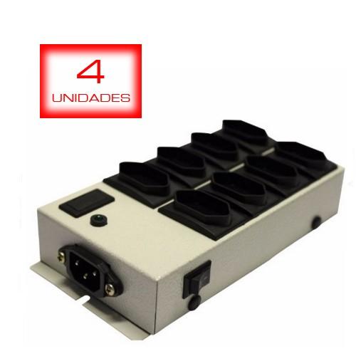 4 unid - Filtro De Linha Conect Com 8 Tom. Conexão Cabo De Computador