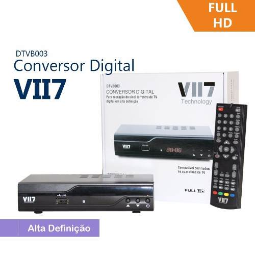 Conversor Digital VII7 HDTV Full HD cabo HDMI