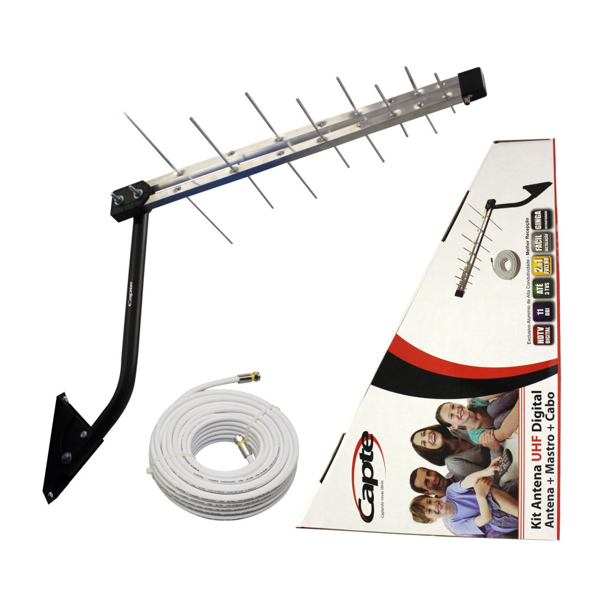 Kit Antena Digital para TV Log 16 com Mastro 50 cm e Cabo coaxial Capte 10 metros