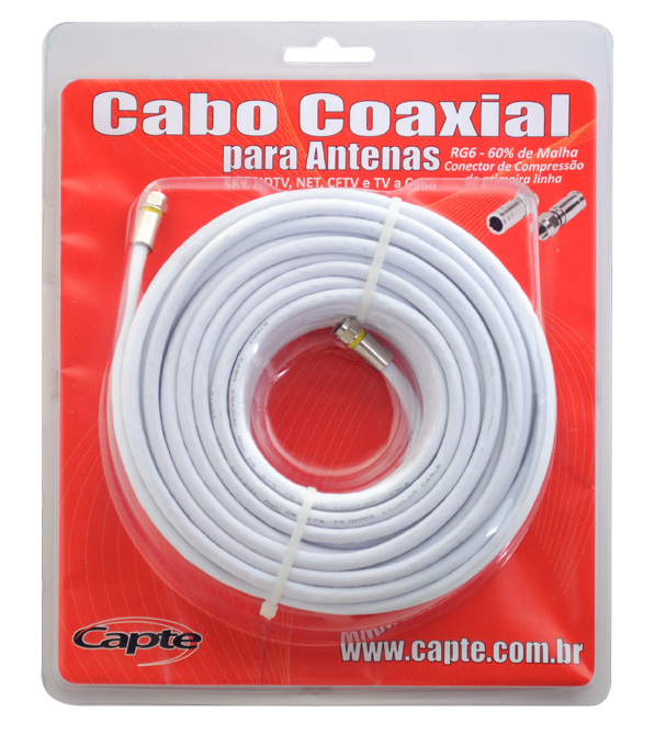 Cabo Coaxial Capte, 67% de malha de blindagem, 25 metros