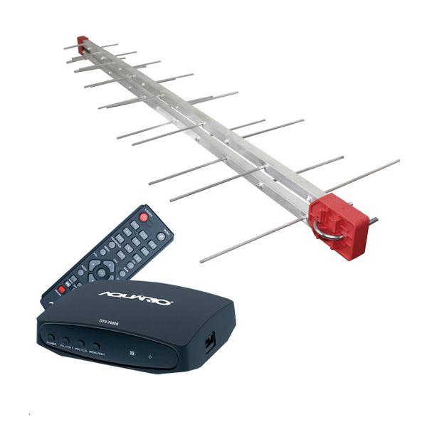 Antena Digital Externa 4K Capte Log 28 Elementos + Conversor e Gravador Digital Aquário DTV 7000S + Cabo 12 metros