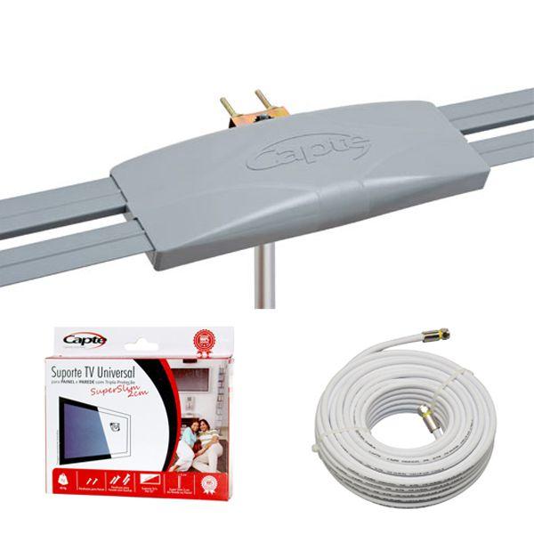 Antena Digital Externa Capte Grafite 4em1+ Suporte Super Slim Capte + Cabo Coaxial 14m