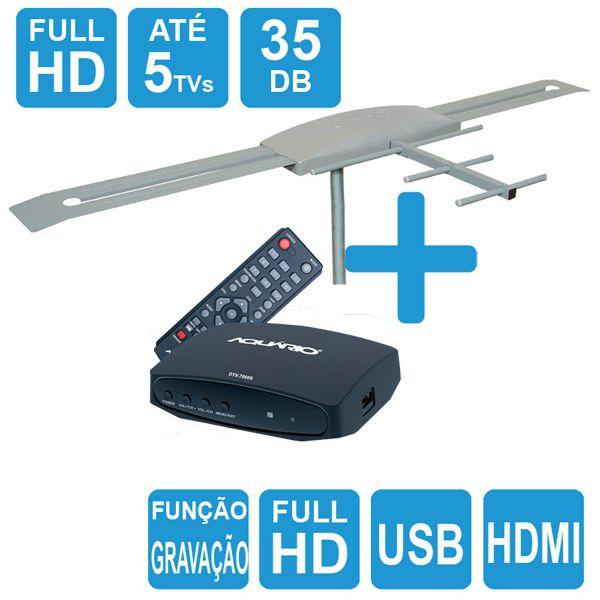 Antena Digital Externa Capte K7 Turbo Digital + Conversor e Gravador Digital Aquário DTV 7000S