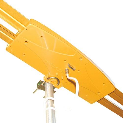 Antena Digital Externa Capte Ouro Amplificada 4x1 Vhf Uhf Digital Hdtv E Fm