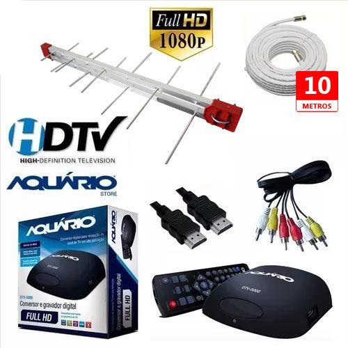 Kit Antena Digital + Cabo 10 mt e  Conversor Digital DTV 5000