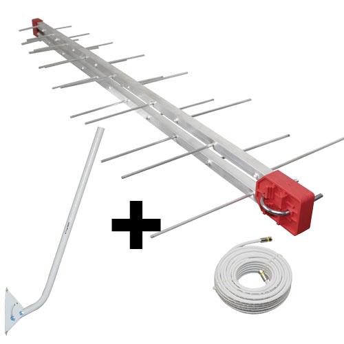 Antena Digital UHF DIGITAL Antena Log 28, Mastro 80 cm e Cabo Coaxial 20 cm Kit Capte