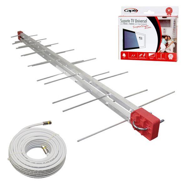 Antena Log  Digital 4K Com Cabo De 20m E Suporte TV Universal Para Painel e Parede Capte