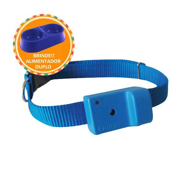 Coleira AntiLatido Smart Plus 2 Azul, Brinde Comedouro Duplo m/g 2000ml