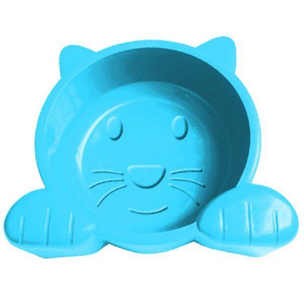 Comedouro Alimentador para Gatos Plástico Pet Injet Cat Face 600 ml - Azul