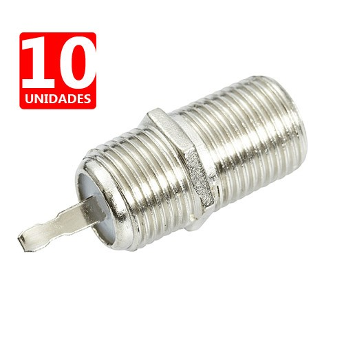 Conector F Femea Painel - RG6 - Ótima Qualidade-  10 pçs