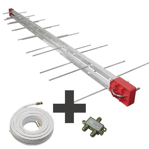 Kit Antena Digital Log 28 com Cabo coaxial de 20mts e divisor 2x1 Capte
