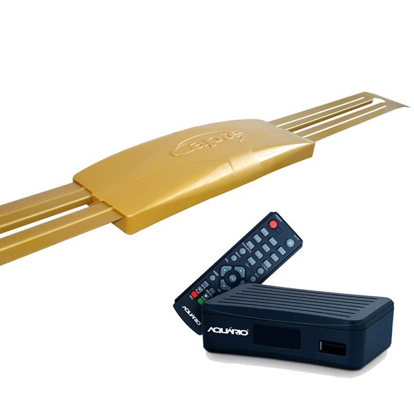 Kit Sinal Digital Antena Ouro C/ Conversor Dtv 4000 Cabo 15m Capte