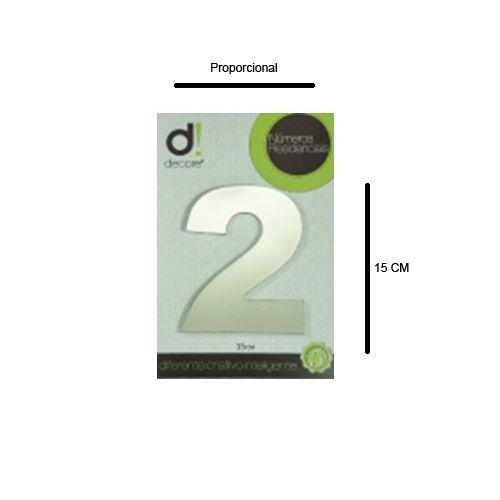 Número em aluminio Espelhado Polido Residencial N 2 15cm