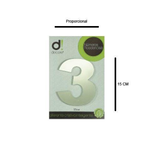 Número Aço Inox Espelhado Polido Residencial N 3 15cm