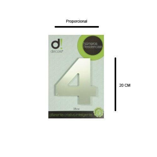 Número em alumínio Espelhado Polido Residencial N 4 20cm