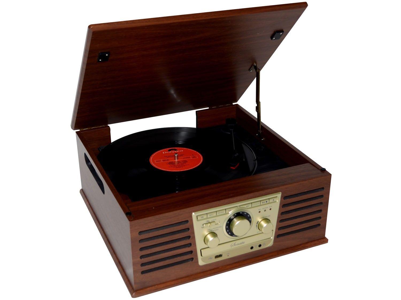 Vitrola Raveo Sonata Toca Disco de Vinil CD Rádio FM e USB