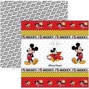 Folha para ScrapFesta Dupla-face Disney - Mickey Mouse 1 Fitas e Rótulos