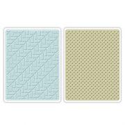 Placa de Textura Sizzix Embossing Folders - Houndstooth & Dots Set