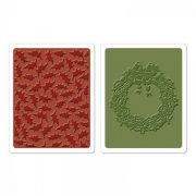 Placa de Textura - Embossing Folder - Holly Pattern & Wreath