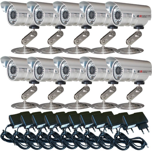 Kit 10 Câmeras de segurança infravermelho 30 mts 1.000 linhas + 10 fontes de alimentação  - Tudoseg Cftv - Sistemas de Segurança Eletrônica