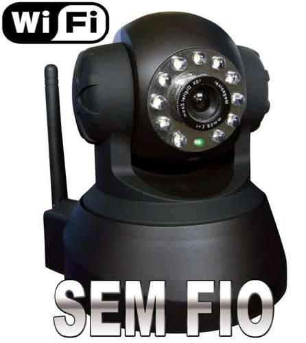 Câmera IP Sem Fio Wireless com Infravermelho Acesso via Internet e Movimentação - Preta  - Tudoseg Cftv - Sistemas de Segurança Eletrônica