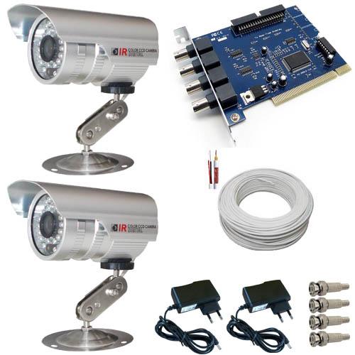 Kit 2 Câmeras de Segurança com infravermelho 20 metros 480 linhas Completo- Placa Geovision  - Tudoseg Cftv - Sistemas de Segurança Eletrônica