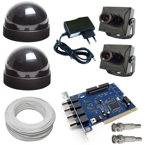 Kit 2 Micro Câmeras + 2 Domes + Fonte+ Cabo+ Acesso Internet- Placa Geovision  - Tudoseg Cftv - Sistemas de Segurança Eletrônica