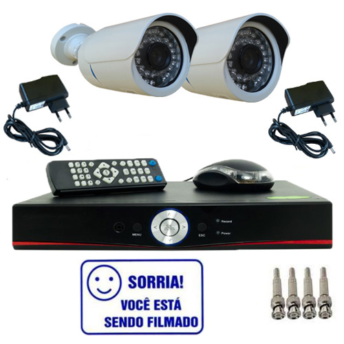Kit Dvr Stand Alone 4 canais + 2 Câmeras Bullet Infravermelho 800 linhas + 2 fontes + 4 Conectores  - Tudoseg Cftv - Sistemas de Segurança Eletrônica