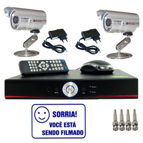 Kit Dvr Stand Alone 4 canais + 2 Câmeras Infravermelho + 2 fontes + 4 Conectores  - Tudoseg Cftv - Sistemas de Segurança Eletrônica