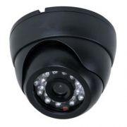 Câmera segurança formato dome 24 leds infravermelho 20 metros Ccd digital 1200 linhas- Preta