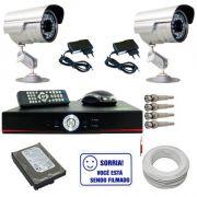 Kit Sistema de Monitoramento com 02 Câmeras Infravermelho e Gravador Dvr Stand Alone com Acesso Internet