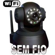 Câmera IP Sem Fio Wireless com Infravermelho Acesso via Internet e Movimentação - Preta