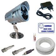 Kit 1 Câmera Segurança Infravermelho 1200 Linhas + Fonte + Conectores + Cabo + Brinde