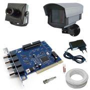 Kit câmera PC completo para 1 câmera Acesso Internet- Placa Geovision