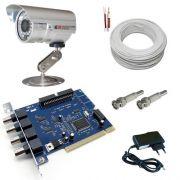 Kit sistema vigilância para computador câmera infravermelho 30 metros + Placa Geovision