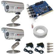 Kit 2 Câmeras de Segurança com infravermelho 20 metros 480 linhas Completo- Placa Geovision