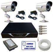 Kit 2 Câmeras de Segurança Infravermelho + Dvr 4 canais + HD + Cabo + Acessórios