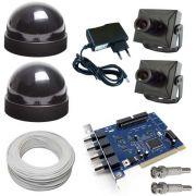 Kit 2 Micro Câmeras + 2 Domes + Fonte+ Cabo+ Acesso Internet- Placa Geovision