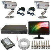 Kit Completo 02 Câmeras de Segurança com Gravador Dvr Acesso Internet - Com Monitor