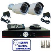Kit Dvr Stand Alone 4 canais + 2 Câmeras Bullet Infravermelho 800 linhas + 2 fontes + 4 Conectores